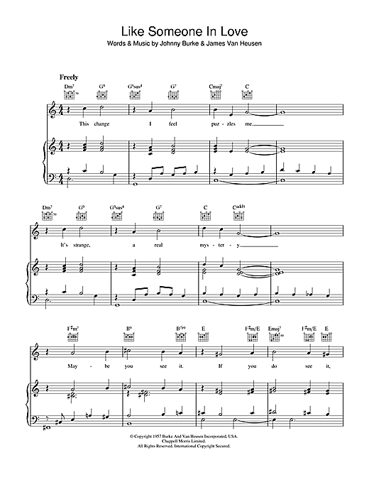 Like Someone In Love (Piano, Vocal & Guitar (Right-Hand Melody))