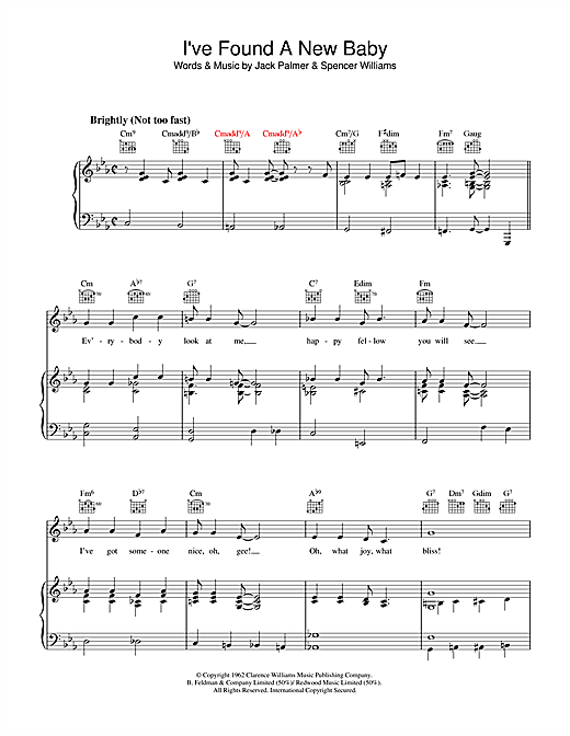 I've Found A New Baby sheet music by Spencer Williams ...