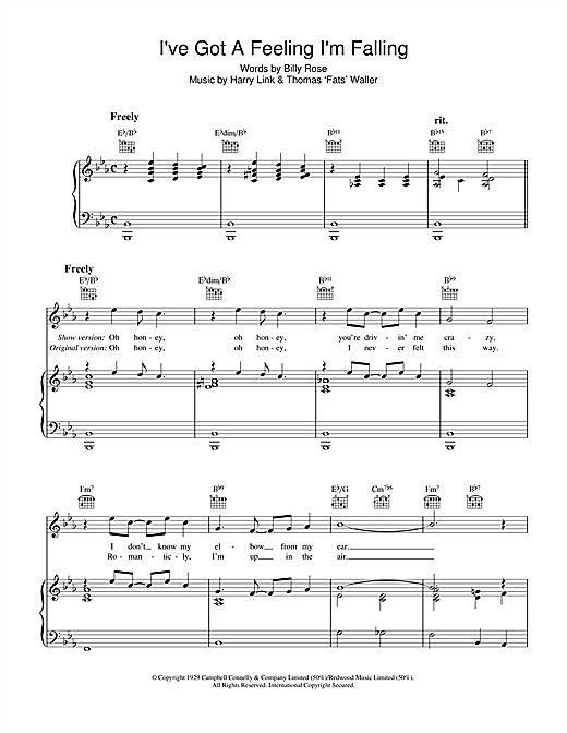 I've Got A Feeling I'm Falling Sheet Music