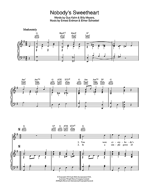 Nobody's Sweetheart Sheet Music