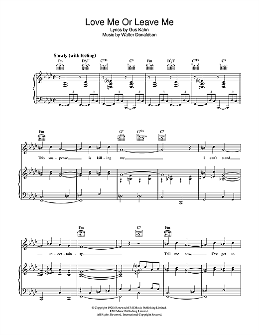 Love Me Or Leave Me Sheet Music