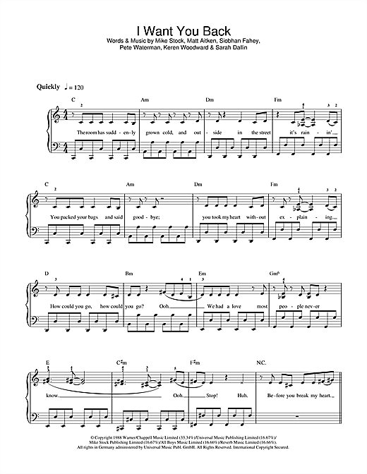 I Want You Back Sheet Music