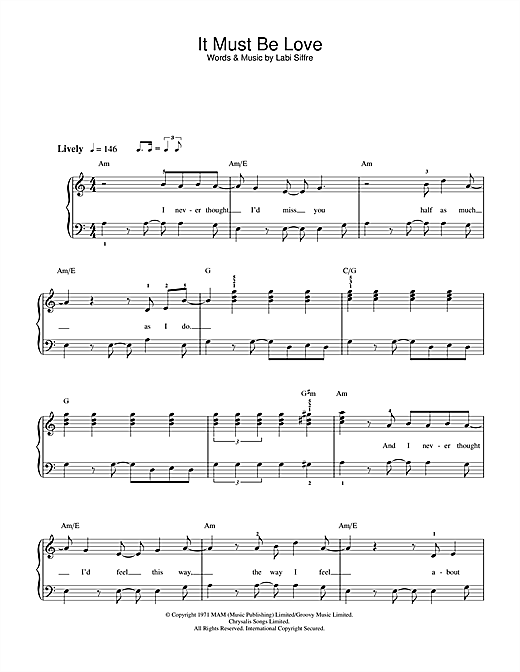 It Must Be Love Sheet Music