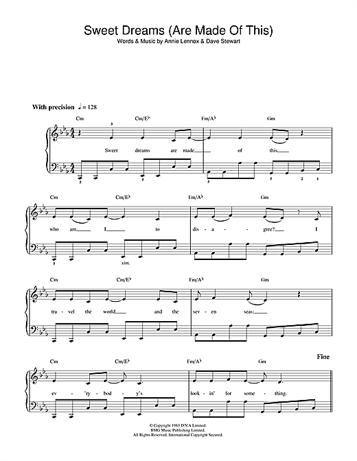 Sweet Dreams (Are Made Of This) sheet music by Eurythmics (Beginner ...