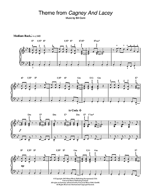 Theme from Cagney And Lacey Sheet Music