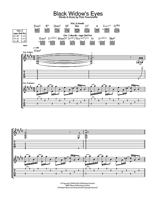 Black Widow's Eyes Sheet Music