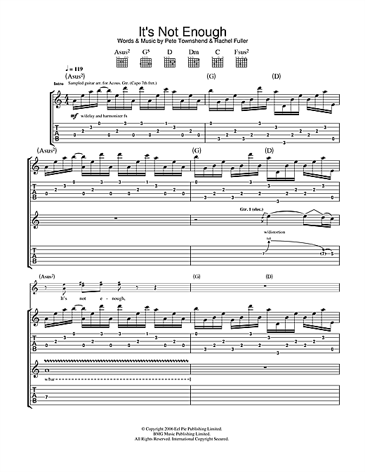 Tablature guitare It's Not Enough de The Who - Tablature Guitare