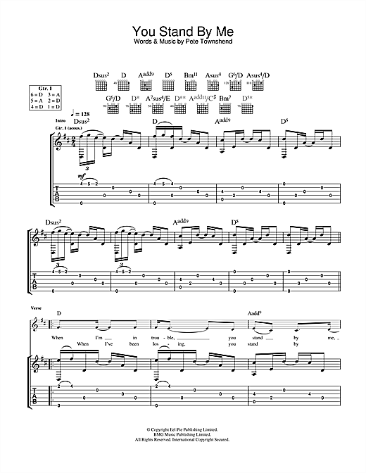 Tablature guitare You Stand By Me de The Who - Tablature Guitare