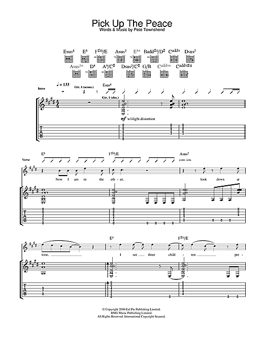 Tablature guitare Pick Up The Peace de The Who - Tablature Guitare