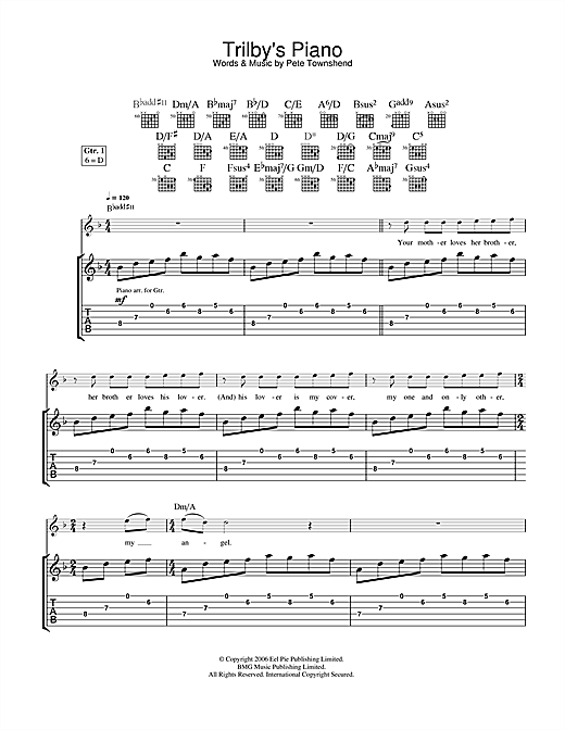 Tablature guitare Trilby's Piano de The Who - Tablature Guitare