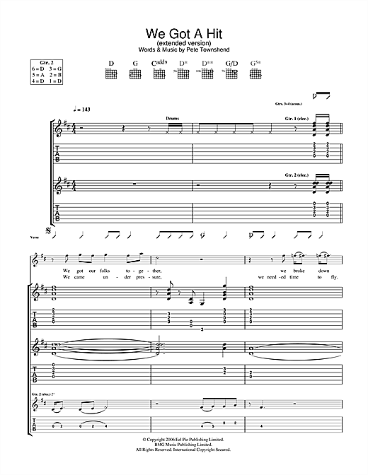 Tablature guitare We Got A Hit (Extended Version) de The Who - Tablature Guitare