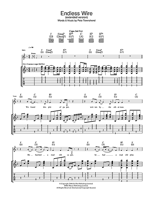 Endless Wire (Extended Version) Sheet Music