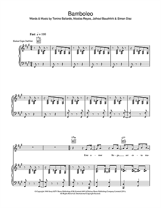 Bamboleo Sheet Music