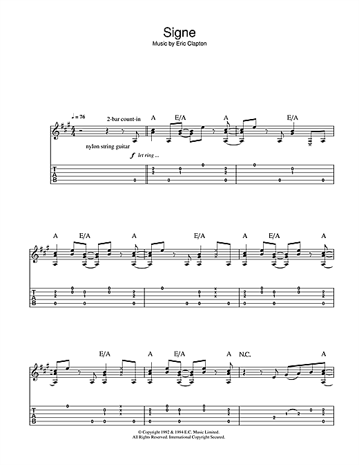 Tablature guitare Signe de Eric Clapton - Tablature Guitare
