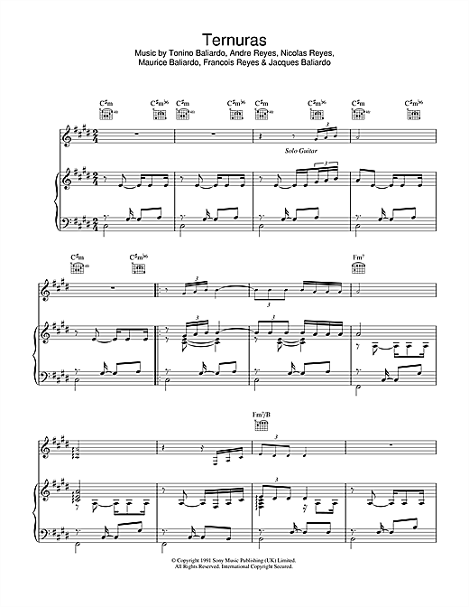 Ternuras Sheet Music