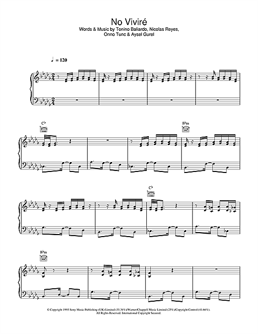 No Vivire (Piano, Vocal & Guitar (Right-Hand Melody))