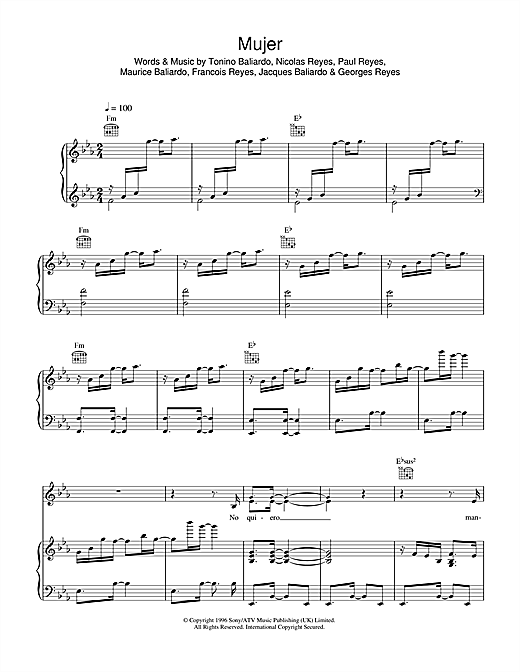Mujer (Piano, Vocal & Guitar (Right-Hand Melody))
