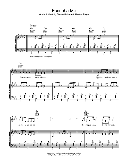 Escucha Me Sheet Music