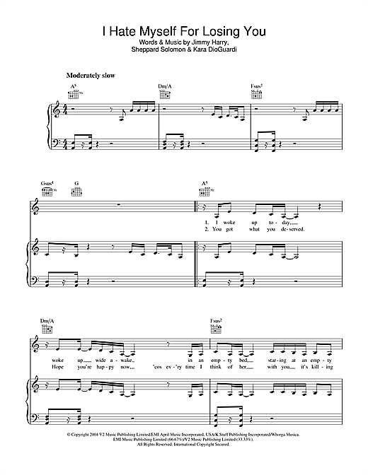 I Hate Myself For Losing You Sheet Music