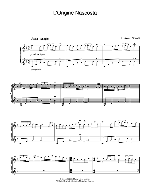 L'Origine Nascosta Sheet Music