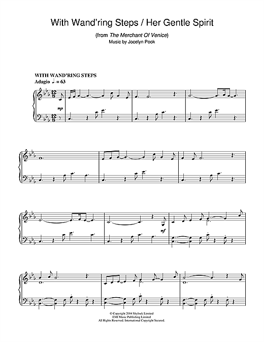 With Wand'ring Steps (from The Merchant Of Venice) Sheet Music