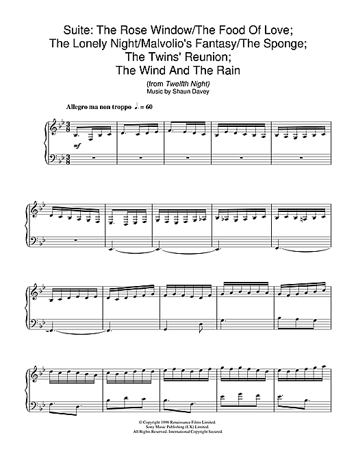 The Rose Window/The Food Of Love; The Lonely Night/Malvolio's Fantasy/The Sponge; The Twins' Reunion; The Wind And The Rain (from Twelfth Night) Sheet Music