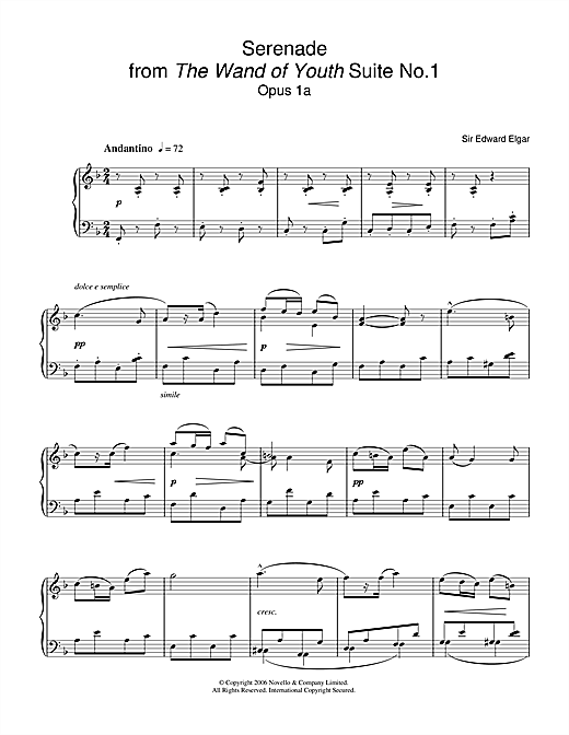 Serenade From The Wand Of Youth Suite No 1 Op 1a (Piano Solo)