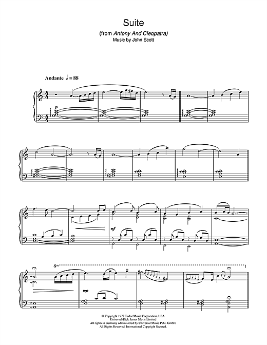 Suite (from Antony And Cleopatra) Sheet Music