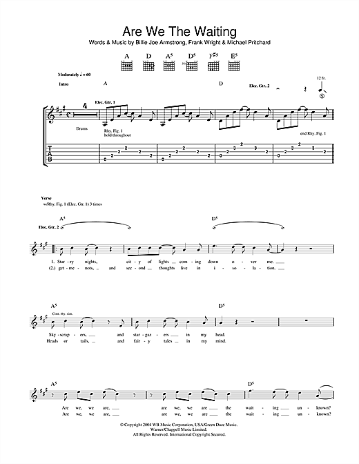 Tablature guitare Are We The Waiting de Green Day - Tablature Guitare
