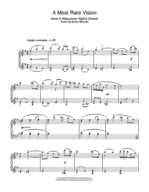 A Most Rare Vision (from A Midsummer's Night's Dream) Sheet Music