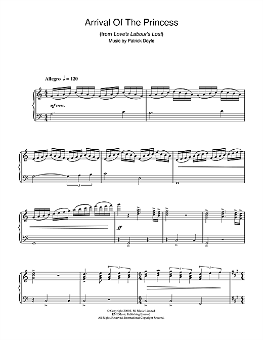 Arrival Of The Princess (from Love's Labour's Lost) Sheet Music
