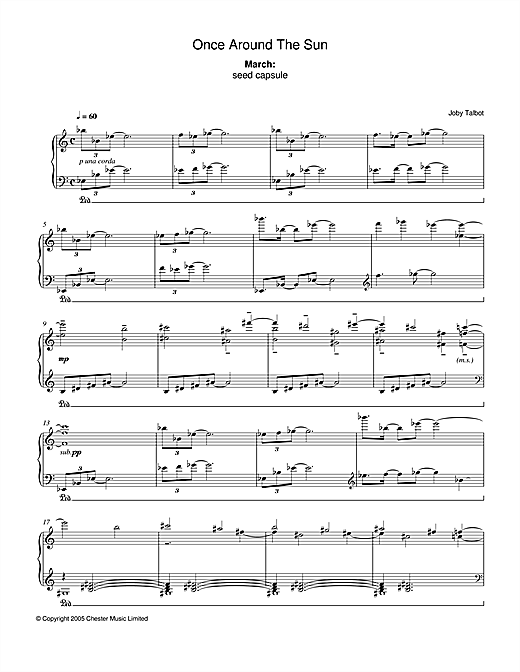 Partition piano March (from Once Around The Sun) de Joby Talbot - Piano Solo