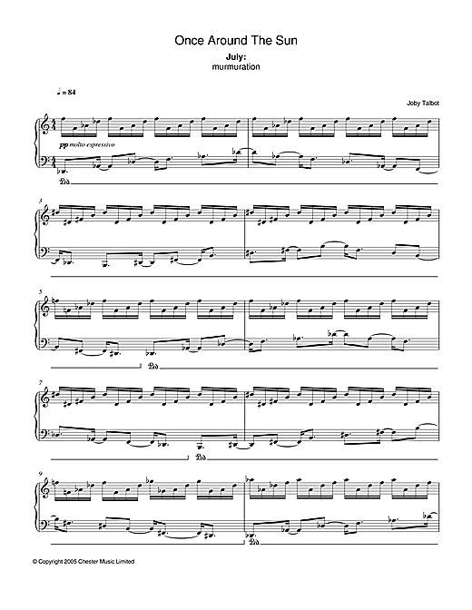 Partition piano July (from Once Around The Sun) de Joby Talbot - Piano Solo