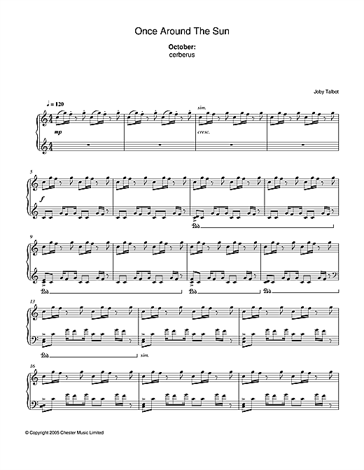 October (from Once Around The Sun) Sheet Music