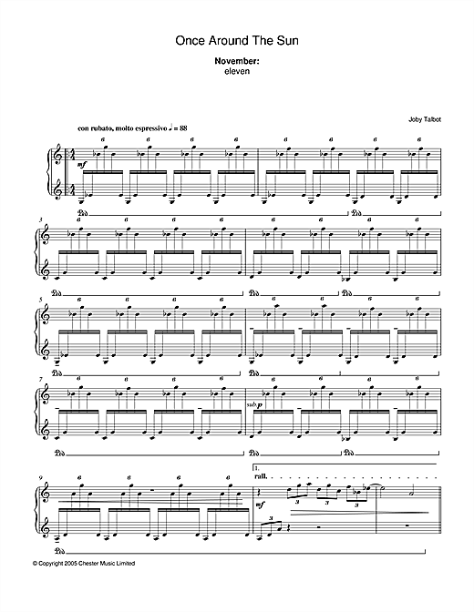 November (from Once Around The Sun) Sheet Music
