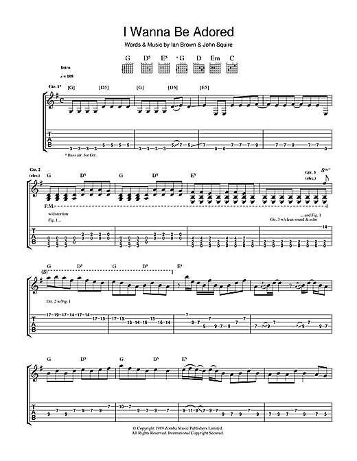 I Wanna Be Adored Sheet Music