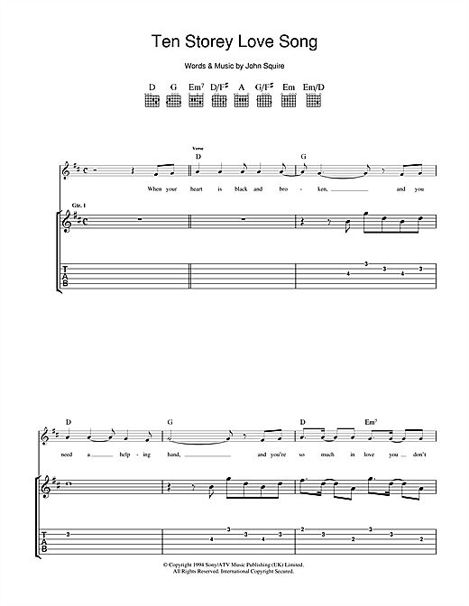 Ten Storey Love Song Sheet Music
