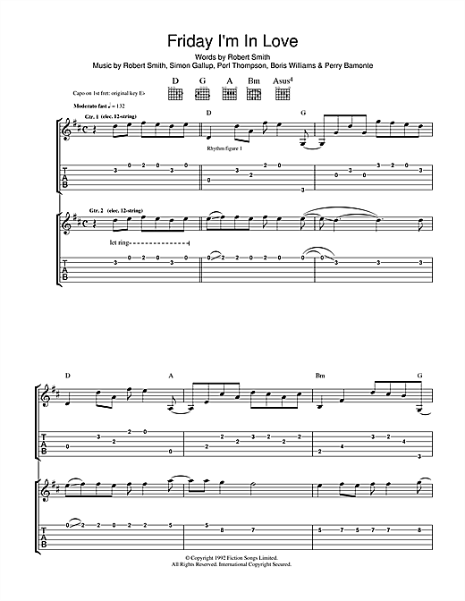 Tablature guitare Friday I'm In Love de The Cure - Tablature Guitare