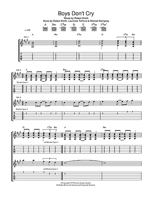 Boys Don T Cry Tablature Guitare Par The Cure Tablature