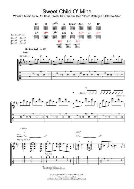 Sweet Child Ou0026#39; Mine Guitar Tab by Guns Nu0026#39; Roses (Guitar Tab u2013 37756)