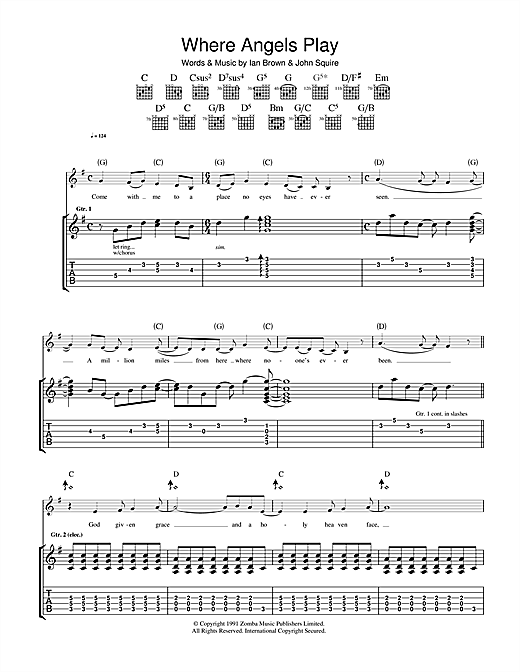 Tablature guitare Where Angels Play de The Stone Roses - Tablature Guitare
