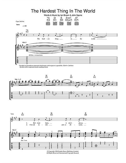 Tablature guitare The Hardest Thing In The World de The Stone Roses - Tablature Guitare