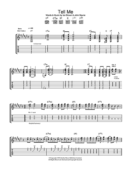 Tablature guitare Tell Me de The Stone Roses - Tablature Guitare