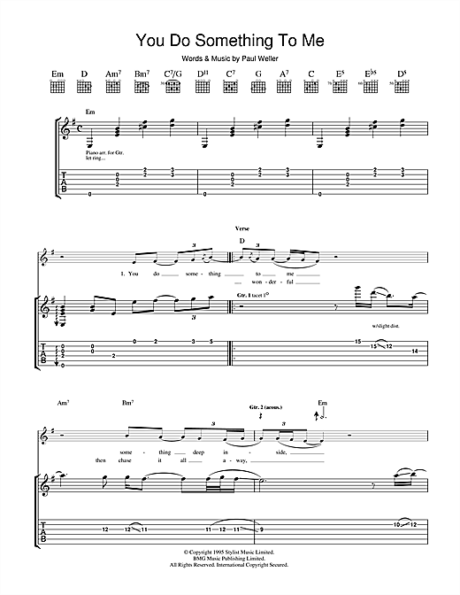 You do something to me guitar tab by paul weller guitar tab 37730