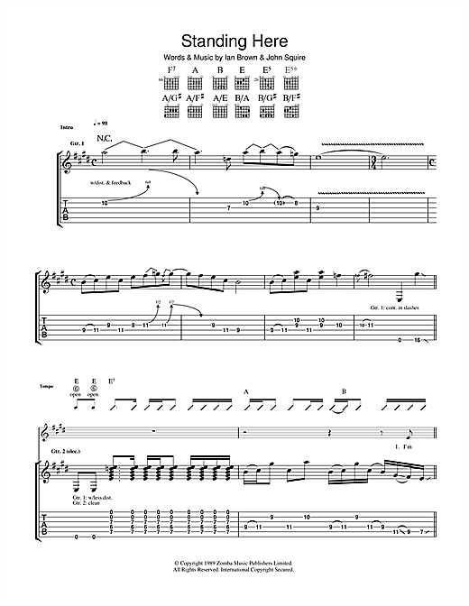 Tablature guitare Standing Here de The Stone Roses - Tablature Guitare
