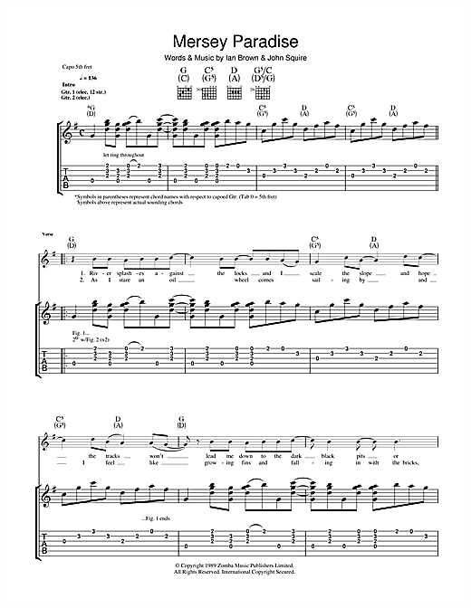 Tablature guitare Mersey Paradise de The Stone Roses - Tablature Guitare