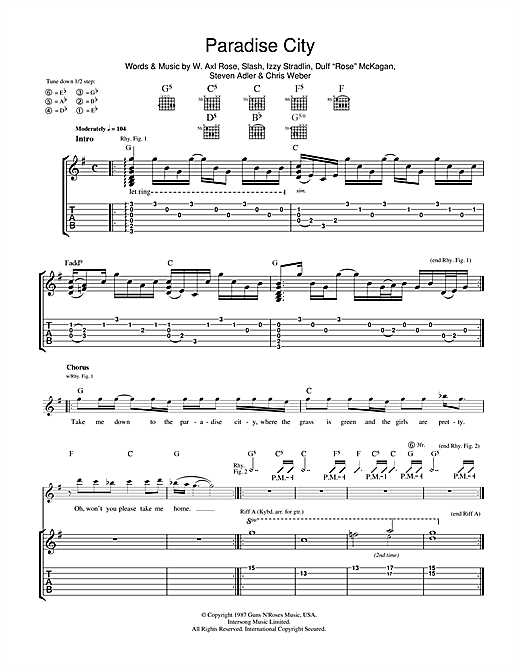 Paradise City Sheet Music