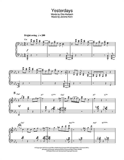 Yesterdays Sheet Music