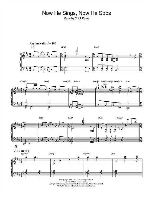 Now He Sings, Now He Sobs Sheet Music