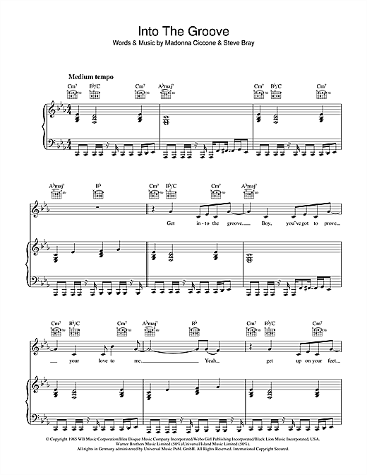 Into The Groove Sheet Music